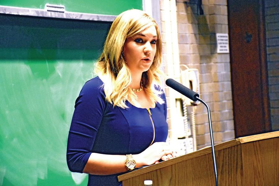 Katie Pavlich, a Fox News contributor and editor of Townhall.com, addresses more than 40 people Monday night as Northwestern University College Republicans' annual winter speaker. Pavlich said microaggressions and trigger warnings are hindering free speech on college campuses.