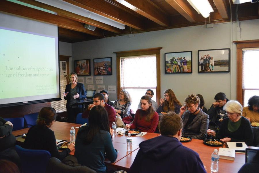 Political science prof. Elizabeth Shakman Hurd discusses violent extremism and religious freedom at the Buffett Institute. About 90 people gathered to hear her speak Friday as part of the Buffett Institute Faculty and Fellows Colloquium.
