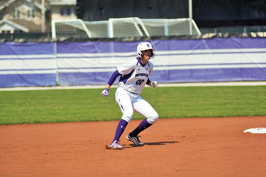 Andrea Filler waits on base. The senior shortstop hit a team-leading three home runs in Northwestern's first five games last weekend.