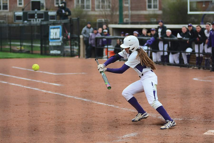 Sabrina Rabin lays down a bunt. The sophomore outfielder hit the first home run of her career in Sunday's 3-2 loss to Boston College.