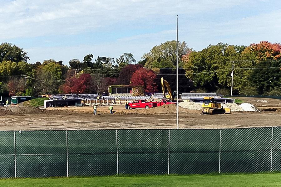 Construction on the renovations to Rocky Miller Park began in 2014. Wilmette residents have expressed complaints about a proposed scoreboard addition and lack of communication from Northwestern and Evanston.