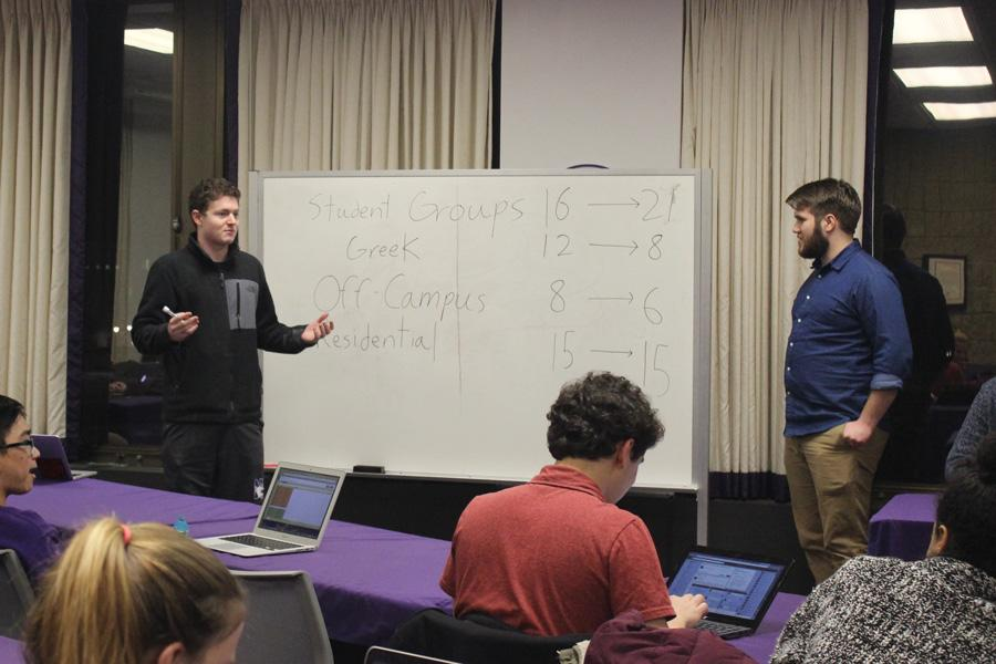 Off-campus senator Will Pritzker (left) outlines his concerns about a Senate representation reform amendment next to Erik Baker, who co-authored the amendment. The amendment, which would have increased student group representation and equalize Greek representation while decreasing off-campus representation, failed to pass.