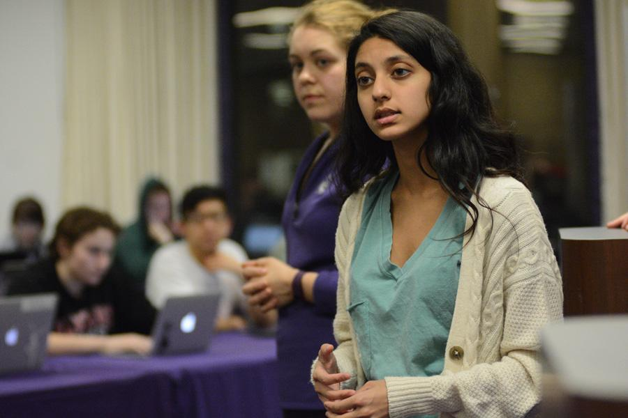 Weinberg sophomore Nehaarika Mulukutla introduces legislation supporting the creation of a relaxation room. The room would be in the new student center once Norris University Center relocates to the Donald P. Jacobs Center.