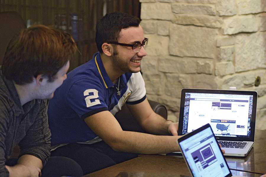 Weinberg junior Aitan Licht co-leads a meeting with members of his group, Northwestern Students for Gun Violence Prevention, in the Willard Residential College dining hall. The group, founded in 2014 as an offshoot of College Democrats, will hear back this week about receiving official status from the University.