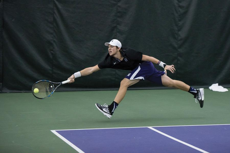 Alp Horoz lunges for the ball. With the outdoor season rapidly approaching, Northwestern is positioned well in the top 25.