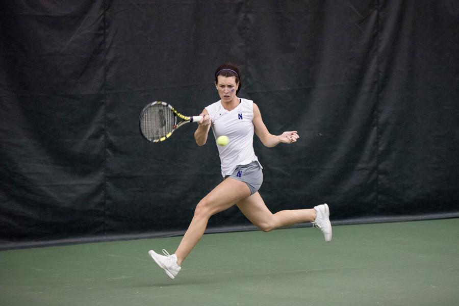 Jillian+Rooney+readies+a+forehand+shot.+The+junior+has+been+a+big+part+of+Northwestern%E2%80%99s+singles+lineup+in+the+last+three+games.+