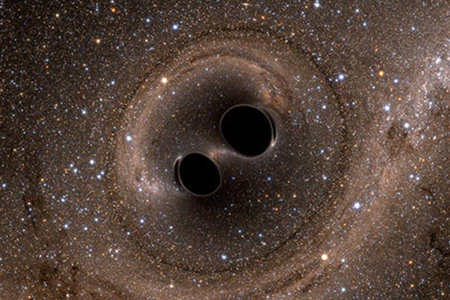 The union of two black holes results in a massive black hole, causing gravitational waves. Northwestern scientists were among the group of researchers who detected the waves, confirming a prediction of Albert Einstein's theory of general relativity.