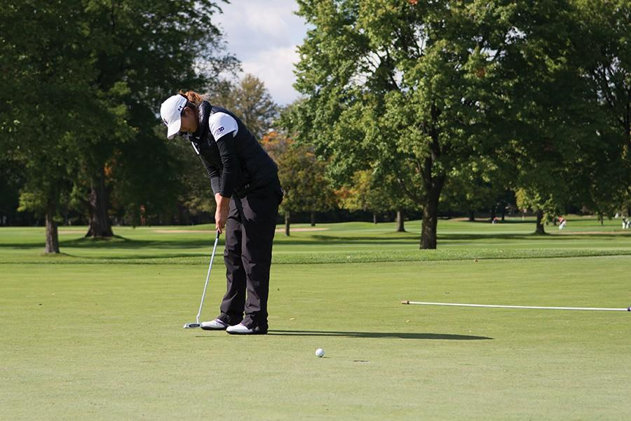 A+Northwestern+golfer+follows+through+on+her+putt.+The+Wildcats+are+looking+to+improve+upon+their+22-over+par+finish+two+weeks+ago.+%0A
