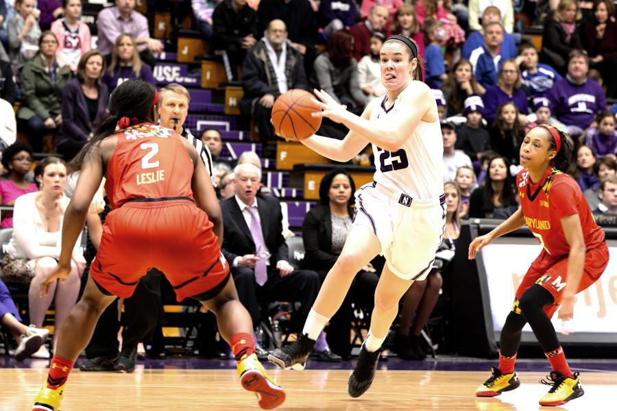 Maggie Lyon navigates through the defense. The senior guard scored 25 points to lead the way for Northwestern in a 79-70 Senior Day loss to No. 5 Maryland.