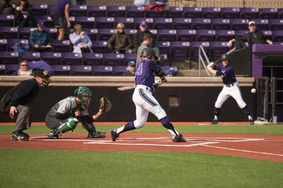Willie+Bourbon+takes+a+cut+against+Chicago+State+on+Wednesday.+The+freshman+infielder+helped+the+Wildcats+christen+their+newly-renovated+stadium%2C+launching+a+solo+home+run+in+their+6-run+third+inning.+