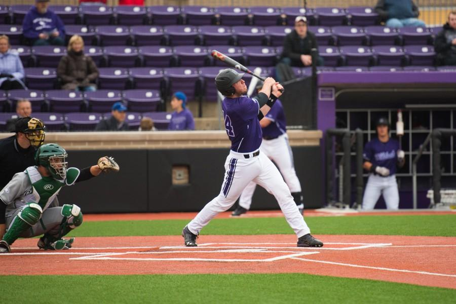 Jack Claeys hits a grand slam against Chicago State. The sophomore catcher sparked a 6-run third inning for the Wildcats, helping them take a lead they would not relinquish.
