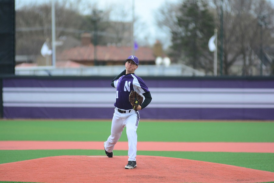 Pete Hofman delivers a pitch. The junior reliever pitched the Wildcats out of a jam in the 8th Sunday, but surrendered the eventual walk-off home run an inning later.