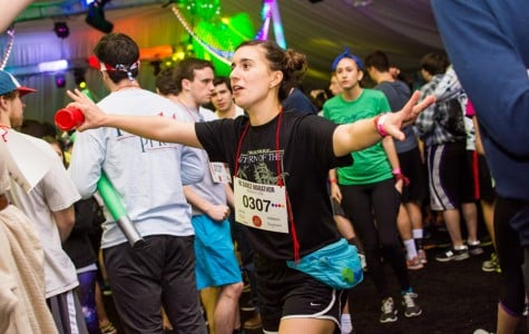 Communication sophomore Sofia Kuta dances during Block 5. Dance Marathon announces a new weekend-of fundraiser during the blocks where they are trying to raise $10,000 in 10 hours.