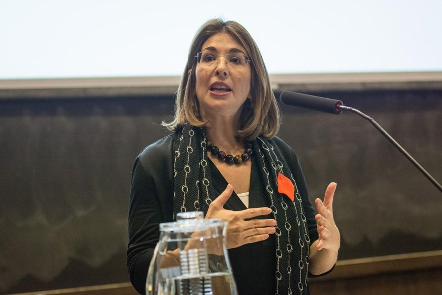 """Author Naomi Klein talks about capitalism's connection to climate change at an event hosted by the Buffett Institute. Klein authored """"This Changes Everything: Capitalism vs the Climate,"""" a book on climate change how it is connected to other social issues."""