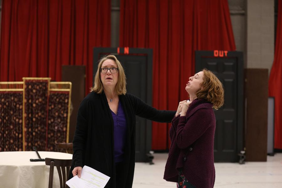 "Kristine Nielsen (Communication '77) (left) rehearses for the Goodman Theatre's upcoming production of ""The Matchmaker."" The Tony award nominee will star in the production that starts this weekend."