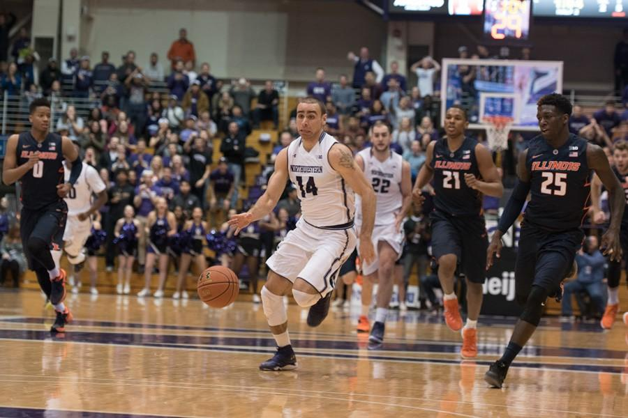 Tre Demps races down the court for a breakaway layup. The senior guard will be playing the last two regular season games of his career this week against Penn State and Nebraska.