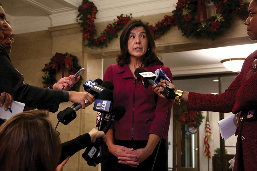Cook County State's Attorney Anita Alvarez takes questions about recent allegations after protesters stormed the George Dunne Cook County building at 69 W. Washington on Dec. 3, 2015 in Chicago.