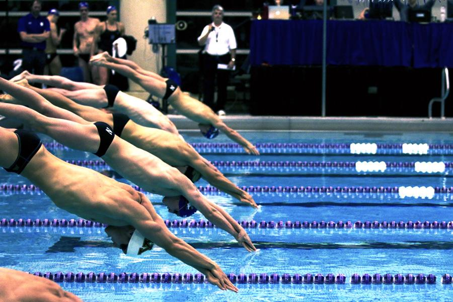 Will Hofstadter comes off the blocks. The freshman was one of the many underclassmen swimmers who helped Northwestern to an eighth-place finish at the Big Ten Championships.