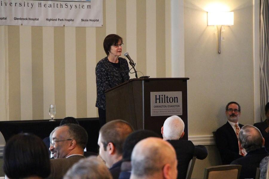 """Mayor Elizabeth Tisdahl speaks at her annual State of the City address Friday. Tisdahl highlighted the death of Curts Cafe graduate Benjamin """"Bo"""" Bradford-Mandujano, who was shot in January, in a discussion of gun violence in the city."""