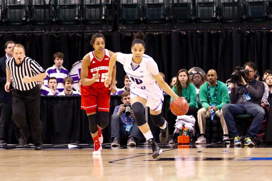 Nia Coffey dribbles up the court. The junior forward tied with Christen Inman to lead the Wildcats with 18 points Wednesday.