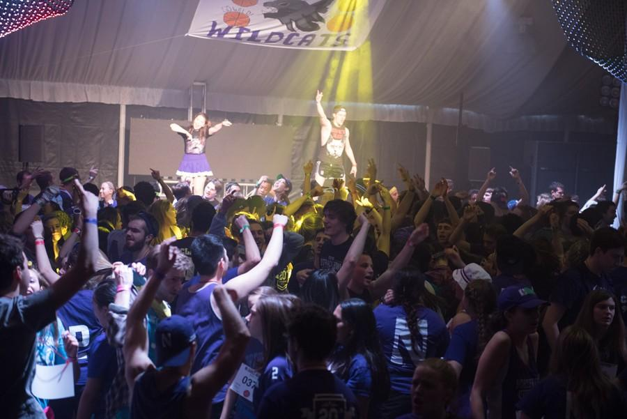 Students participate in Dance Marathon 2016. DG/ZBT/AIO broke its team record this year.