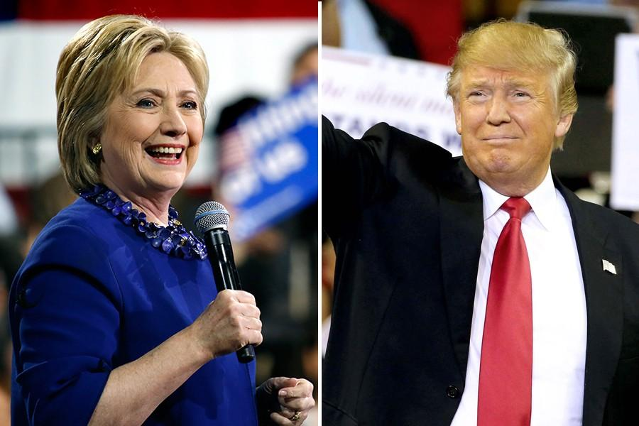 Hillary Clinton (left) narrowly won the Democratic primary in Illinois on Tuesday night. Republican Donald Trump won his party's respective primary.