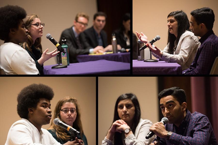 (Clockwise from bottom left) Executive vice presidential candidate Macs Vinson, presidential candidates Christina Cilento and Joji Syed and executive vice presidential candidate Archit Baskaran debate Wednesday. The debate, moderated by The Daily, was the last of three debates before students vote Thursday and Friday for Associated Student Government's next top leaders.