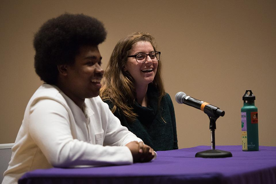 Macs Vinson (left) and Christina Cilento answer a question at a Daily-moderated debate on April 6. Vinson, a McCormick junior, will serve as executive vice president, and Cilento, a SESP junior, will serve as president.