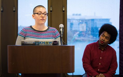 Associated Student Government president Christina Cilento (left) and executive vice president Macs Vinson publicly apologized for violating election commission guidelines. The apologies were part of a punishment approved by Senate last week.