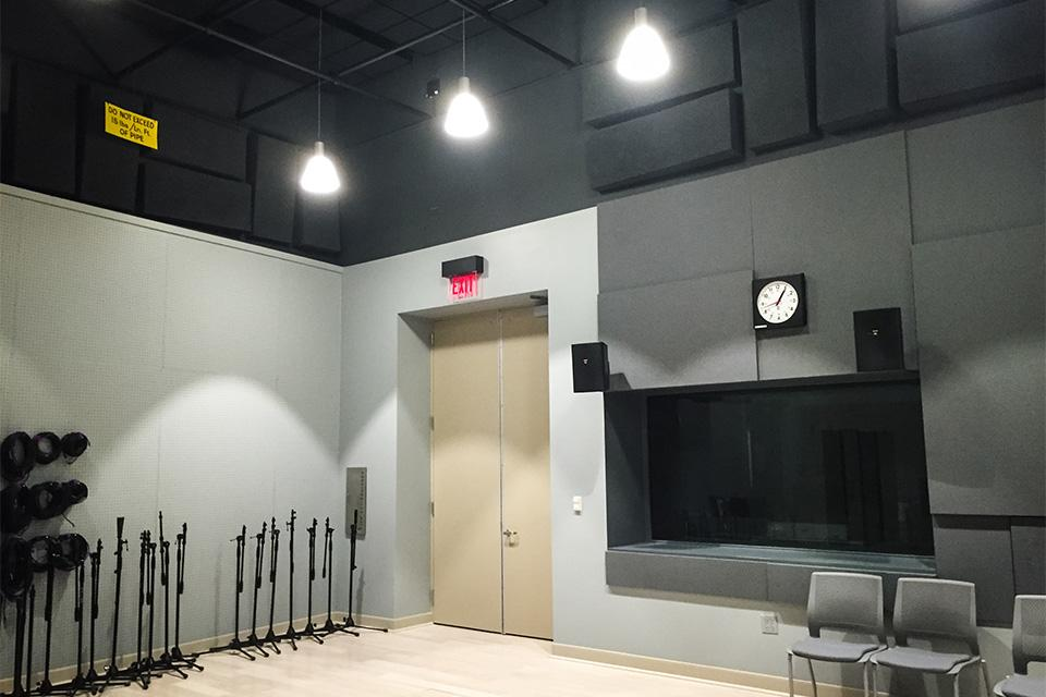 "Equipment lines the wall of Northwestern's new recording studio in Louis Hall. The space, unofficially dubbed ""sound stage,"" opened last month and cost about $1 million to construct."