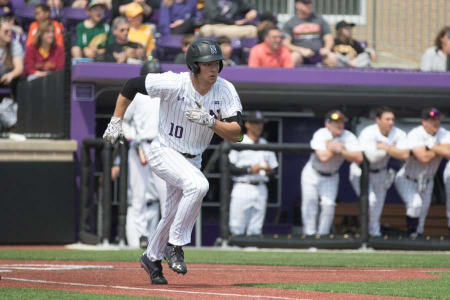 Ben+Dickey+sprints+out+of+the+batter%E2%80%99s+box.+The+freshman+outfielder+has+started+27+games+this+season+and+is+sixth+on+the+team+in+batting+average.