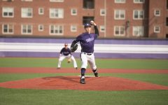 Jake Stolley fires a pitch. The senior was the first of the Wildcats' nine pitchers to take the mound in Wednesday's win over Bradley.