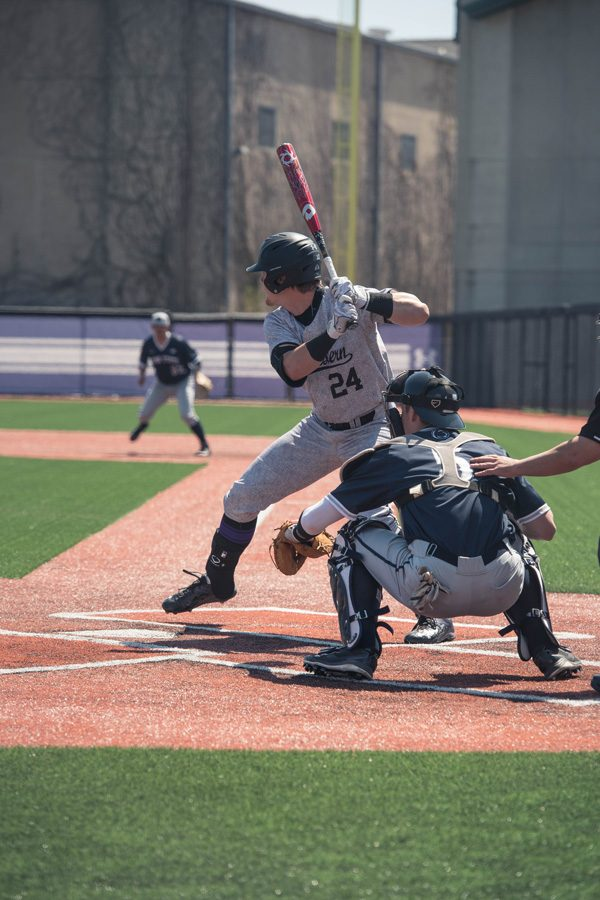 Willie+Bourbon+stands+in+the+batter%E2%80%99s+box.+The+freshman+infielder+notched+the+Wildcats%E2%80%99+only+extra-base+hit+last+weekend+against+Penn+State.+