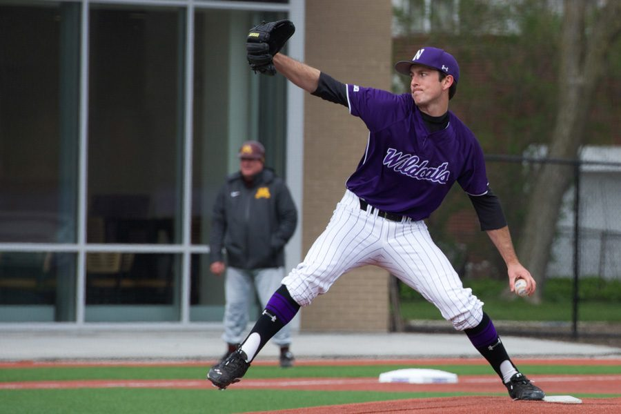 Reed+Mason+delivers+a+pitch.+The+senior+started+Friday%E2%80%99s+series+opener+for+Northwestern%2C+tossing+5+innings+while+allowing+4+earned+runs.
