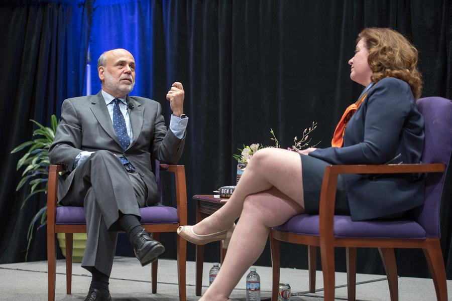 Ben Bernanke responds to a question from Kellogg Prof. Janice Eberly. The former Federal Reserve chairman discussed his role in abating the 2008 financial crisis in front of an audience of more than 700 students.
