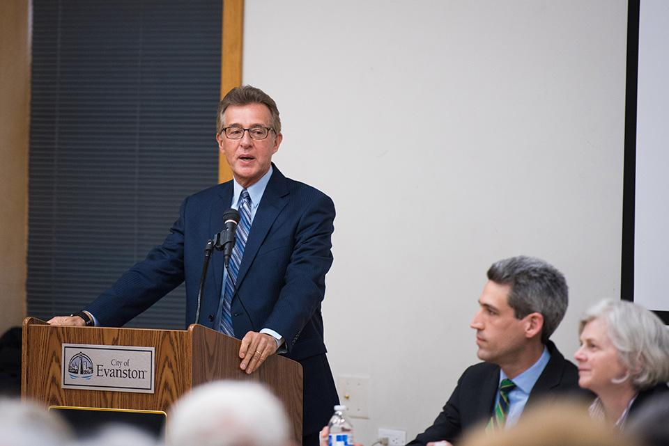 Mark Weiner, president and CEO of CJE SeniorLife, speaks at a panel about the state budget Tuesday night. Weiner said many nonprofits, including his own, have already closed or may close because of the budget stalemate.