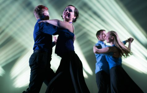 """Dancers rehearse for """"Lost,"""" Northwestern's Ballroom Latin and Swing Team's spring showcase. The show aims to allow choreographers and dancers to explore what being lost means to them."""