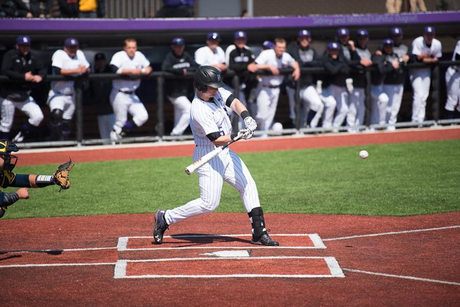 Connor Lind takes a healthy cut at the plate. The sophomore third baseman led the Cats in offense at Nebraska, notching nine hits.
