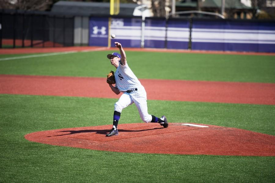 Matt Hopfner delivers a pitch. The junior not only starts on the bump for the Wildcats, but also leads the team in batting average.