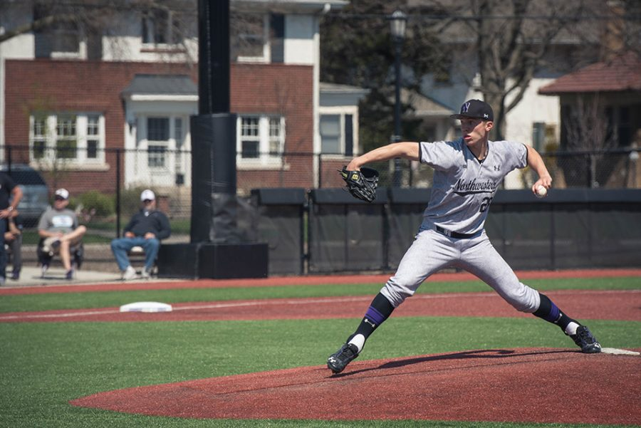 Jake Stolley delivers from the stretch. The senior started Sunday's contest and struggled, giving up 4 runs in two innings, as the Wildcats allowed 11 runs total.