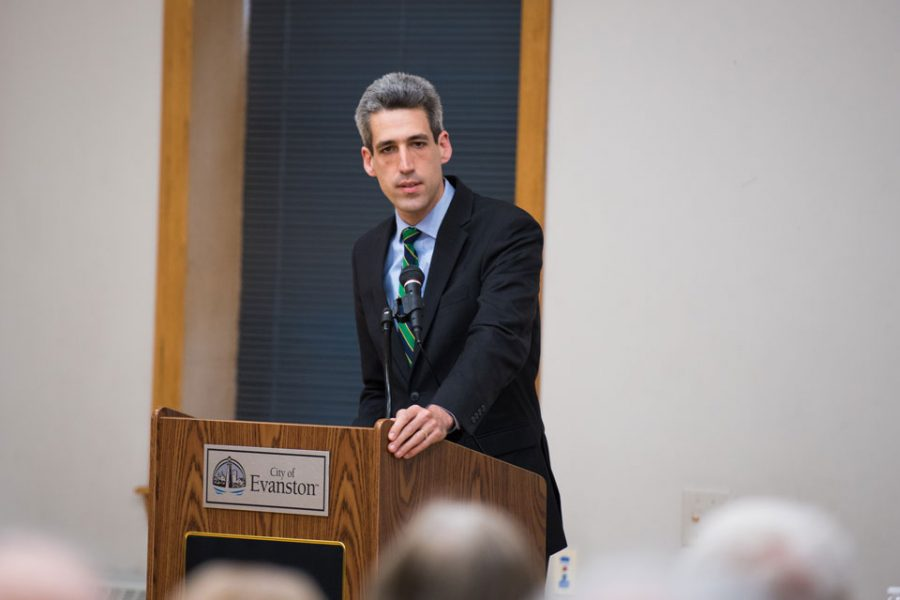 State Sen. Daniel Biss (D-Evanston) moderates a panel at Lorraine H. Morton Civic Center. The senator's bill limiting cell phone surveillance devices is currently under review by a House committee.