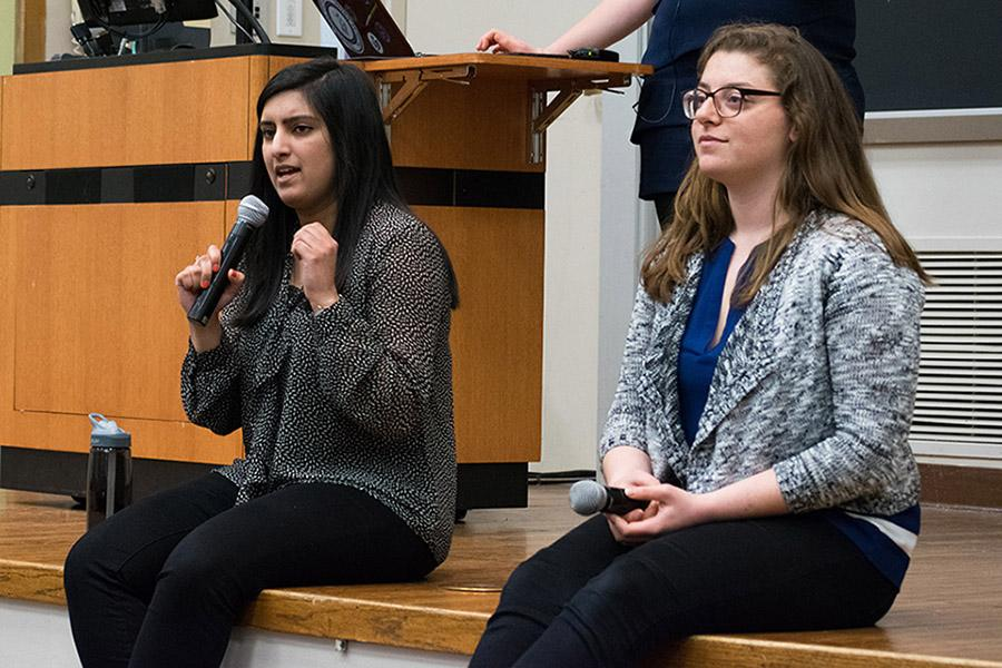 Weinberg junior Joji Syed (left) speaks at the debate. Syed faces SESP junior Christina Cilento in the presidential race. Voting begins Thursday at 5 p.m.