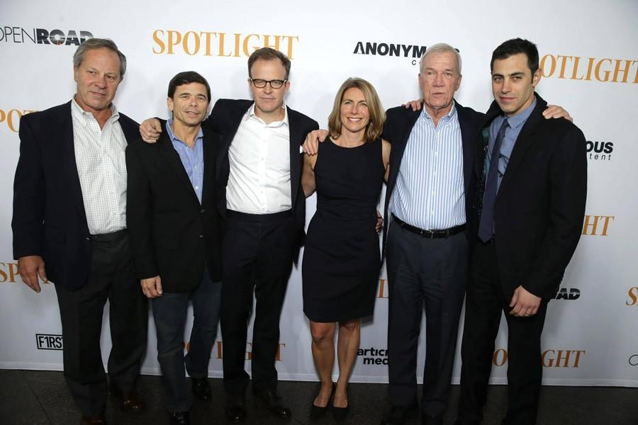The+team+of+reporters+portrayed+in+%22Spotlight%22+attend+a+screening+of+the+film+in+Los+Angeles.+Sacha+Pfeiffer+%28third+from+right%29+and+Walter+Robinson+%28second+from+right%29+will+speak+at+Northwestern+next+Tuesday.+
