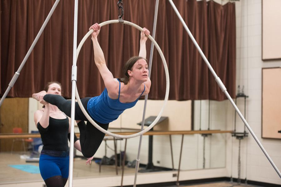 Students rehearse for an aerial performance that will be featured at the upcoming Revel at The Rock. The event will be a part of ShakespeaRevel, a campus-wide festival commemorating the 400th anniversary of Shakespeare's death.