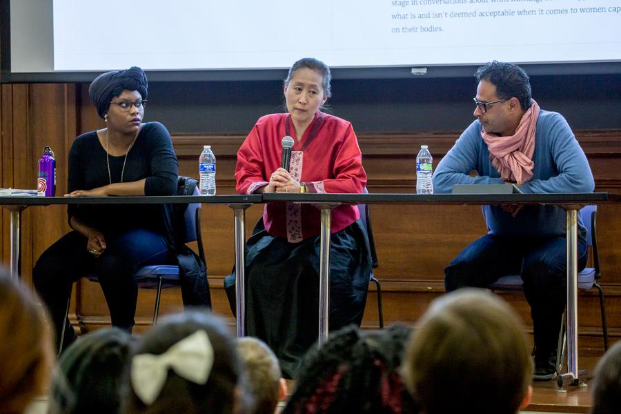 Asian American Studies Prof. Ji-Yeon Yuh, Anthropology Ph. D. student Ashley Agbasoga and African American Studies Prof. Alexander Weheliye speak at Northwestern Sex Week's panel discussion about racial fetishism Thursday night. The event had about 60 students in attendance.