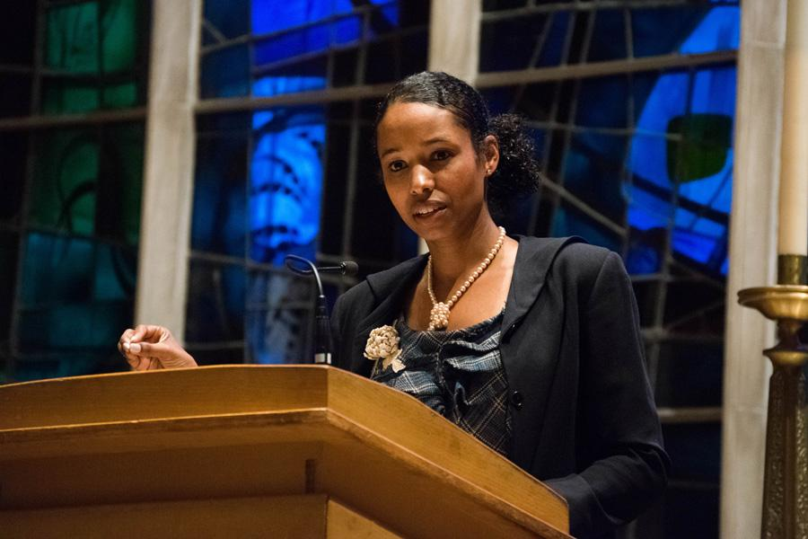 Larycia Hawkins speaks in Alice Millar Chapel. The former Wheaton College professor discussed religious solidarity drawing her on departure from the evangelical Protestant college.