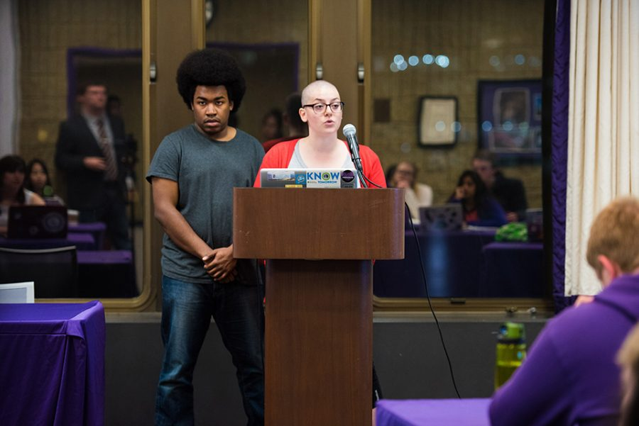 Associated Student Government president Christina Cilento (right) addresses Senate on Wednesday night. Cilento and executive vice president Macs Vinson will have to make public apologies as punishment for an election violations.