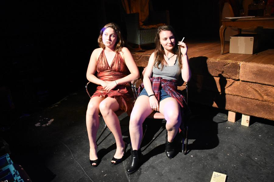 "Two performers practice a scene in the new play ""Strangers of Intimacy."" The play is being produced by Vertigo Productions, a theater company that exclusively presents student works."