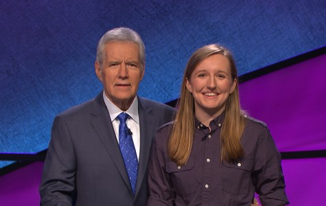 "McCormick senior Sabrina Fritz with ""Jeopardy!"" host Alex Trebek on set. Fritz will appear on an episode of the quiz game show Wednesday afternoon."