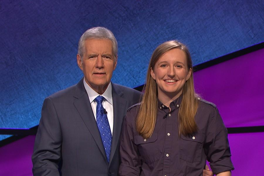 """McCormick senior Sabrina Fritz with """"Jeopardy!"""" host Alex Trebek on set. Fritz will appear on an episode of the quiz game show Wednesday afternoon."""